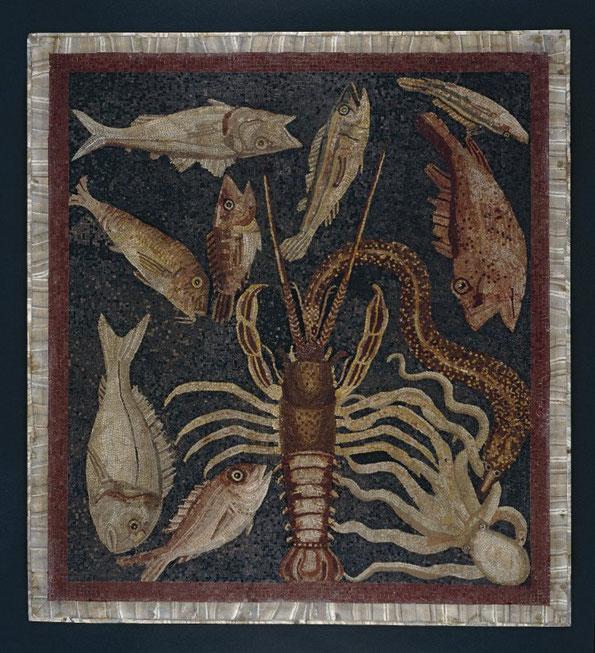 Bodenmosaik mit essbaren Fischen, vermutlich aus dem Speiseraum einer Villa