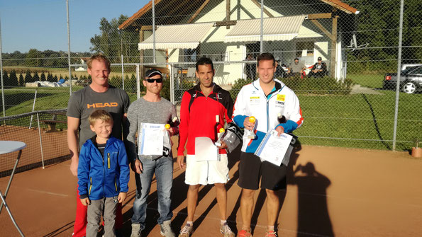 Clubmeister Robert Krammer, Vizemeister Christian Glaser, 3 Platz Daniel Petro, 4 Platz Wolfgang Kniedl