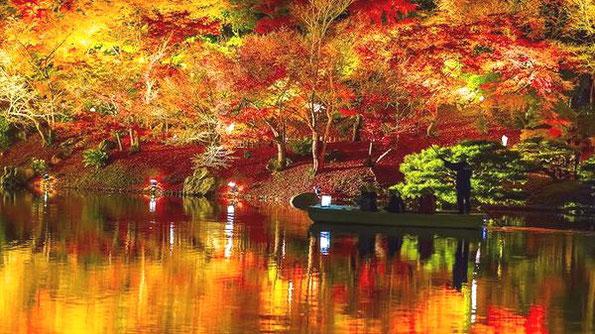 栗林公園の紅葉 香川県高松市