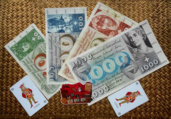 Serie de billetes 50, 100, 500 y 1000 francos Suiza 1954-1973