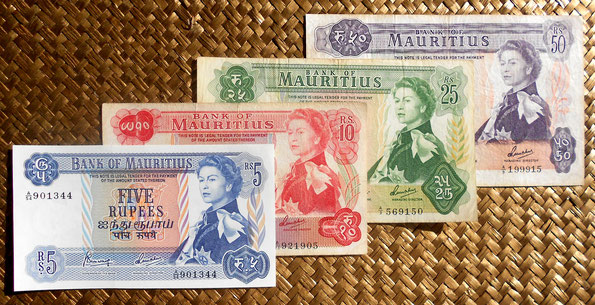 Isla Mauricio Serie Rupias 1967 -Elizabeth II