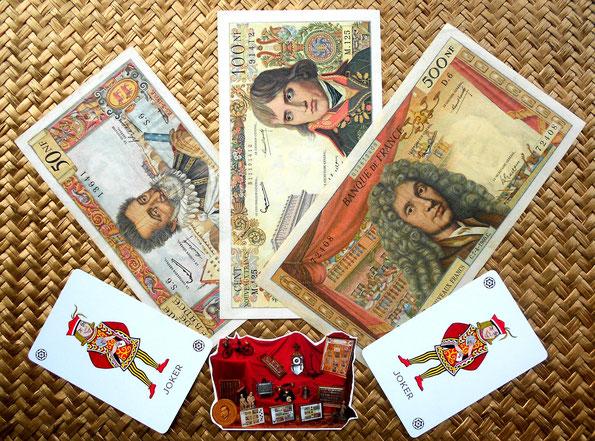 Serie de billetes 50NF, 100NF y 500NF nuevos francos Banque de France década de los '60 del s. XX