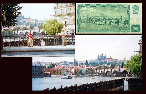 El Puente de Carlos en Praga en el billete de 100 coronas de Checoslovaquia de 1961