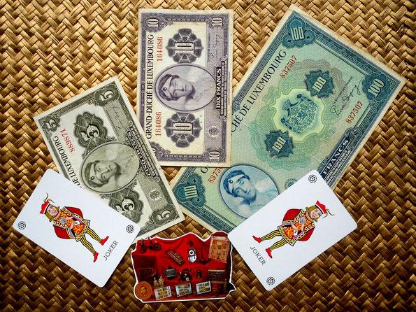 Serie de billetes 5, 15 y 100 francos Luxemburgo 1944, ocupación aliada WWII
