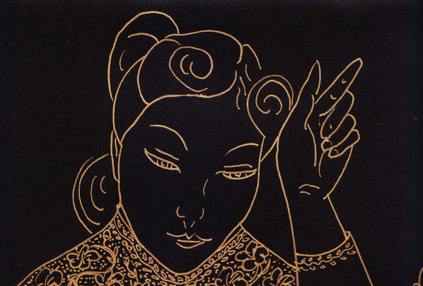 gold pen line drawing of Asian woman