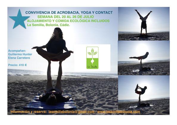 Convivencia de acorbacia, yoga y contact