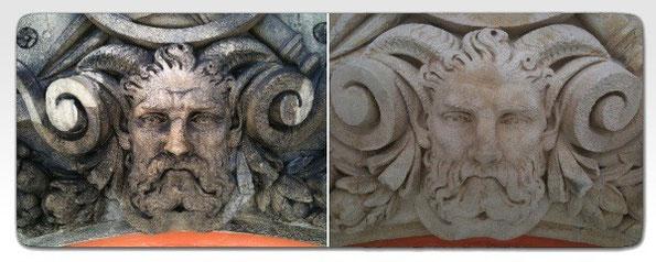 Hydro-gommage de sculpture en pierre