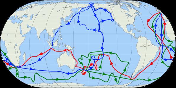 Die Routen von Cooks Reisen: rot = 1. Reise, grün = 2. Reise, blau = 3. Reise, blaue gestrichelte Linie = Route seiner Crew, nachdem er umgekommen war