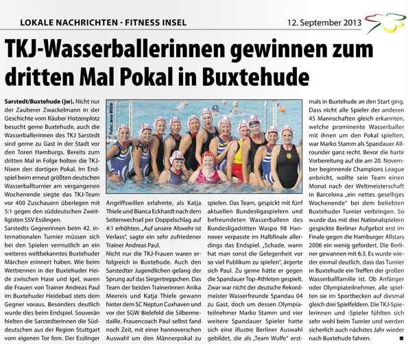 TKJ-Wasserballerinnen gewinnen zum dritten Mal Pokal in Buxtehude. Sarstedter Kleeblatt vom 12.09.2013