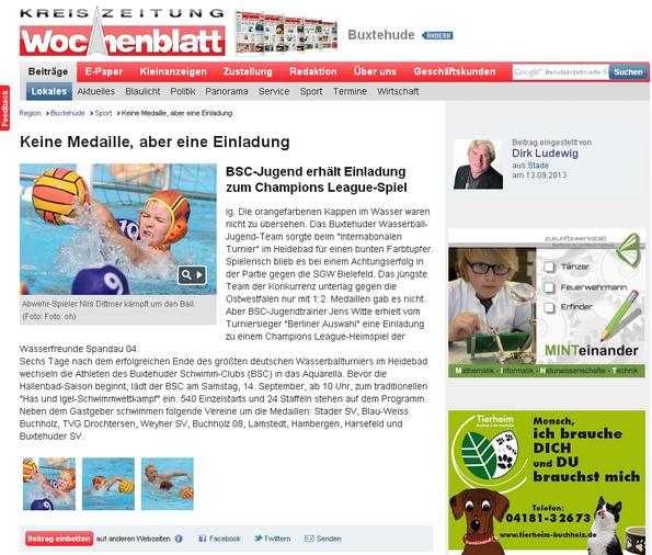 Neue Buxtehuder Wochenblatt vom 13.09.2013 - Onlineausgabe