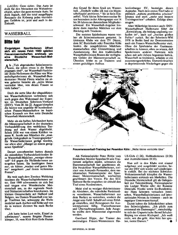 Wasserball/Bitte fair - Der Spiegel Nr. 32/1982 vom 16.08.1982