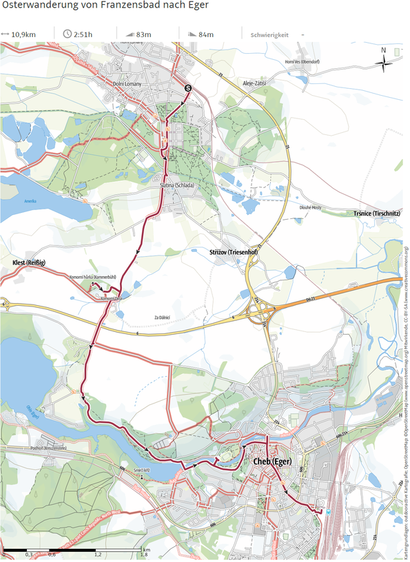 Osterwanderung von Franzensbad nach Eger - outdooraktiv Karte