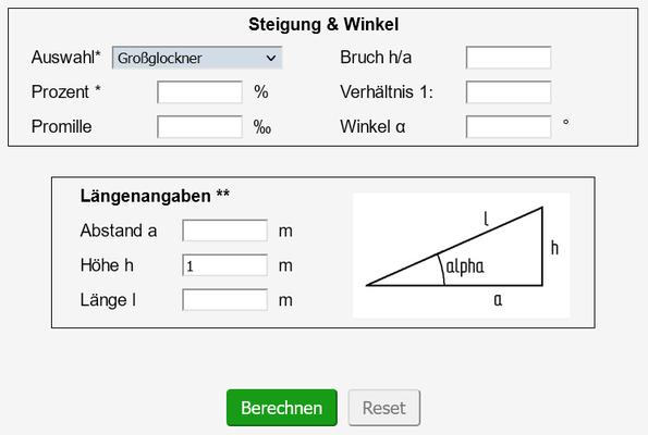 Ausgefüllter Steigungsrechner zur Berechnung der Länge einer Rampe für Rollstuhlfahrer
