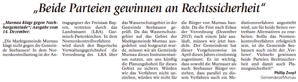 """Leserbrief zum Artikel """"Murnau klagt gengen Nachbargemeinde"""""""