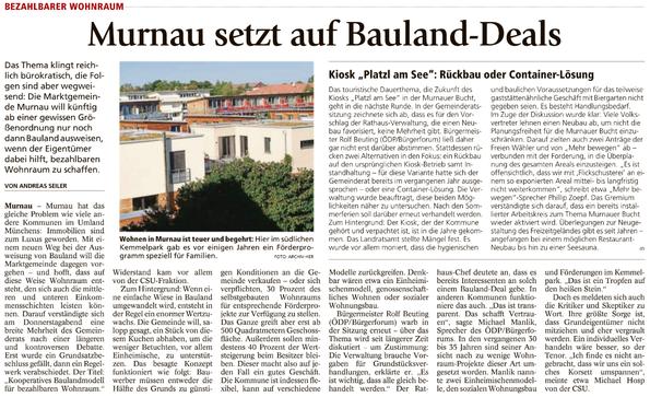 Bezahlbarer Wohnraum - Murnau setzt auf Bauland-Deals