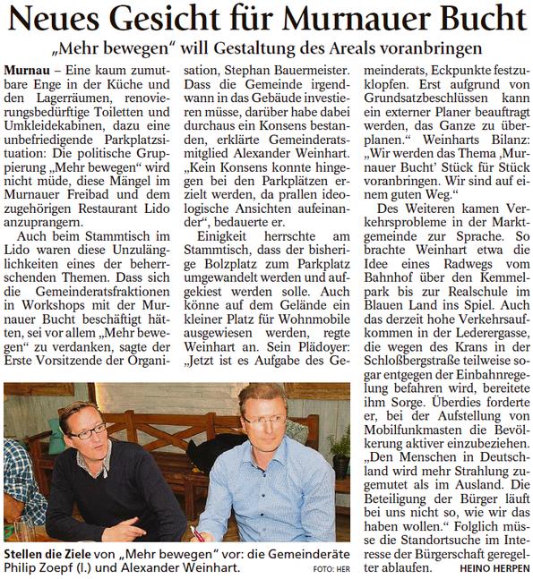 """Neues Gesicht für Murnauer Bucht - """"MEHR BEWEGEN"""" will Gestaltung des Areals voranbringen"""