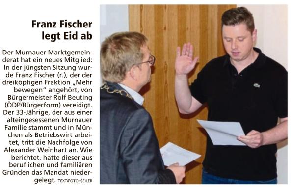 Franz Fischer legt Eid ab