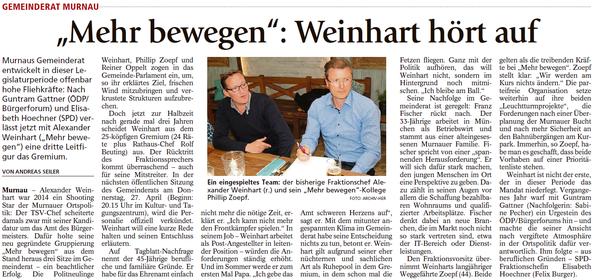 """""""Mehr Bewegen"""": Weinhart hört auf"""