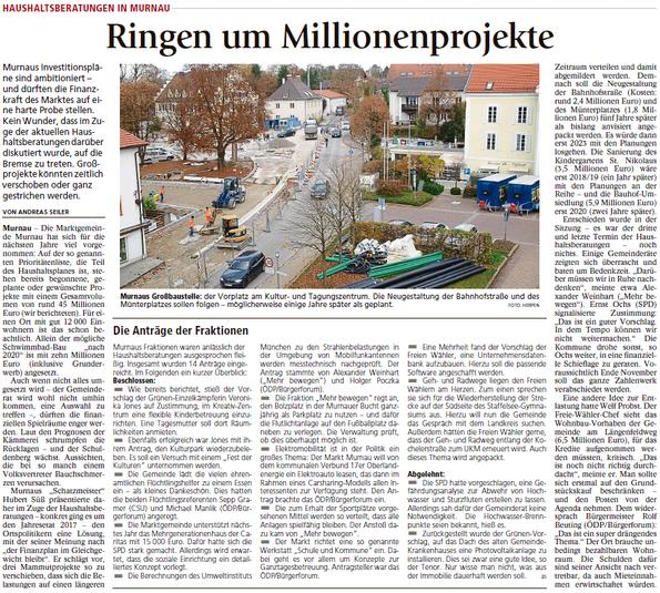 Haushaltsberatungen in Murnau - Ringen um Millionenprojekte
