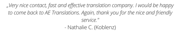 What customers say about their experience with the translations services of AE Translations.