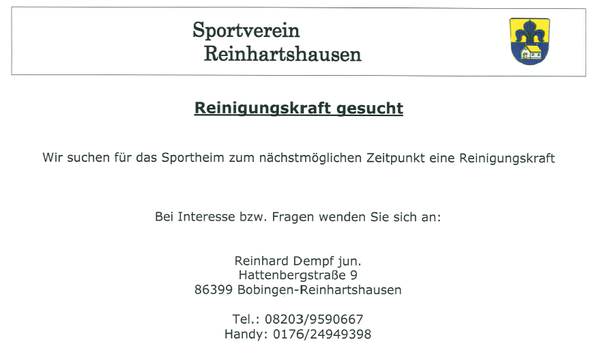 reinigungskraft gesucht sportverein reinhartshausen 1964. Black Bedroom Furniture Sets. Home Design Ideas