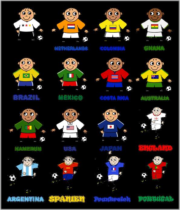 Fußballspieler verschiedener Länder