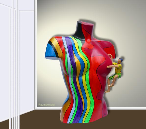Torso 12 / 8, Skulptur, Kletterer, bunt, abstrakt, Art, Kunst, Malerei, Original, Unikat, Kunststoff, Acryl, Raumbeispiel