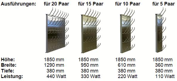 Schuhtrockner elektrisch beheizt mit Absaugung für 5 Paar bis 20 Paar Arbeitsschuhe, Skischuhe, usw.
