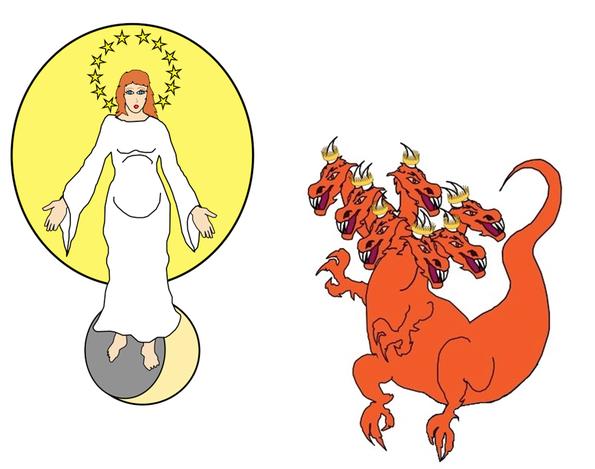 Le dragon rouge-feu à 7 têtes et 10 cornes incarne Satan le diable, le dieu de ce monde, celui qui contrôle tous les systèmes politiques. Il a déjà entraîné le tiers des étoiles à sa suite et se place devant la femme céleste prêt à dévorer son enfant.