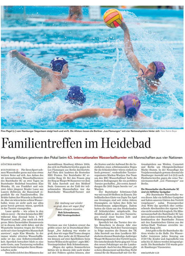 Familientreffen im Heidebad. Hamburg Allstars gewinnen den Pokal beim 43. internationalen Wasserballturnier mit Mannschaften aus vier Nationen