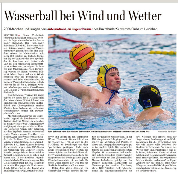 Hamburger Abendblatt vom 13.05.2015: Wasserball bei Wind und Wetter