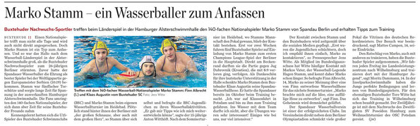 Buxtehuder Nachwuchswasserballer treffen beim Länderspiel in der Hamburger Alsterschwimmhalle den 140-fachen Nationalspieler Marko Stamm von Spandau Berlin und erhalten Tipps zum Training