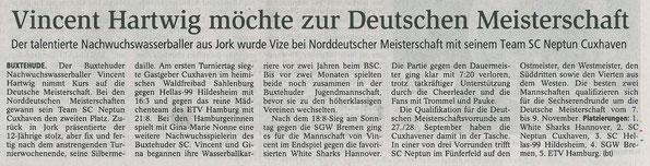 Vincent Hartwig. Buxtehuder Tageblatt vom 15.07.2014