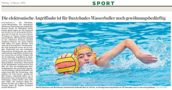 Wasserball: Moritz Dammann. Hamburger Abendblatt vom 03.02.2014