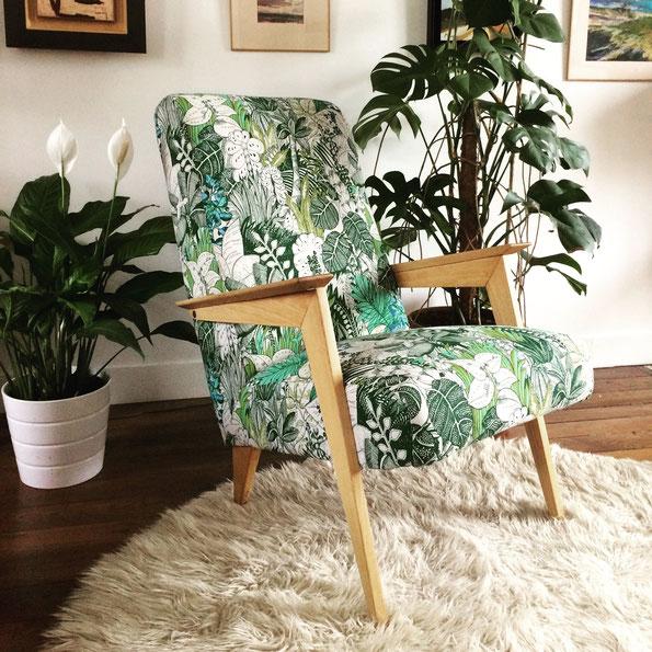 Joli, fauteuil scandinave, fauteuil exotique, fauteuil vintage, fauteuil vers, jungle
