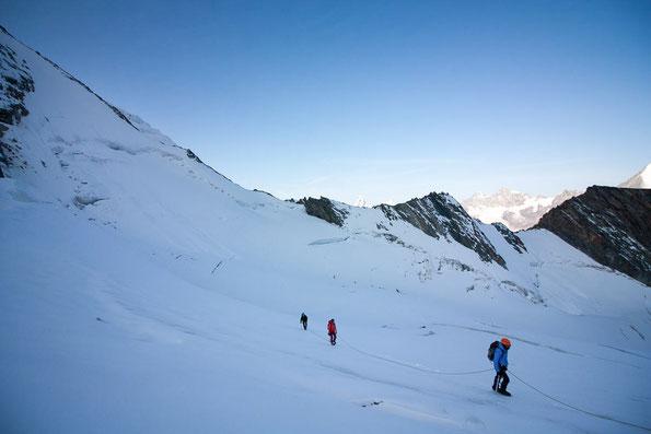Der Hohberggletscher liegt lange Zeit im Schatten