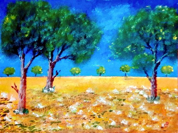 Blumenwiese, Original Ölgemälde , Landschaftsbild, Bäume, Wiese, Feld, Gras, Natur, Himmel, Ölmalerei, Ölbild, , Kunst, Ölfarbe