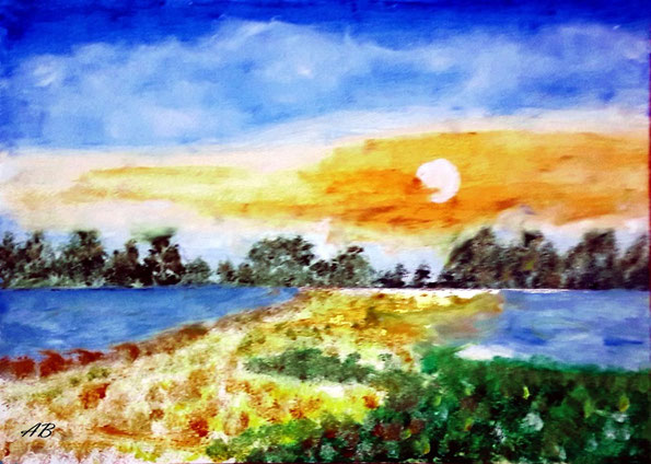 Sonnenuntergang, Mischtechnk, Landschaftsbild, Ölfarbe, Pastellkreide, Bäume, Wald, Felder, See, Blumen, Büsche, Gras, Gemälde