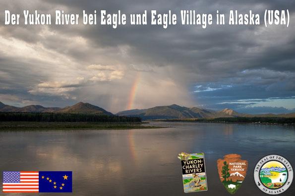 Der Yukon River kurz hinter der Grenze zu Kanada (Yukon) bei Eagle bzw. Eagle Village, der im Früh-jahr 2009 eine verheerende Eisflut führte und große Teile von Eagle und Eagle Village total zerstörte.