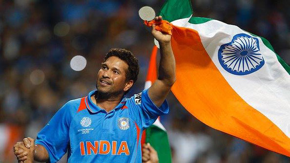 Sachin Tendukar nach dem Sieg des Weltmeistertitels in 2011 (Source: Sachin Tendukar Facebook)
