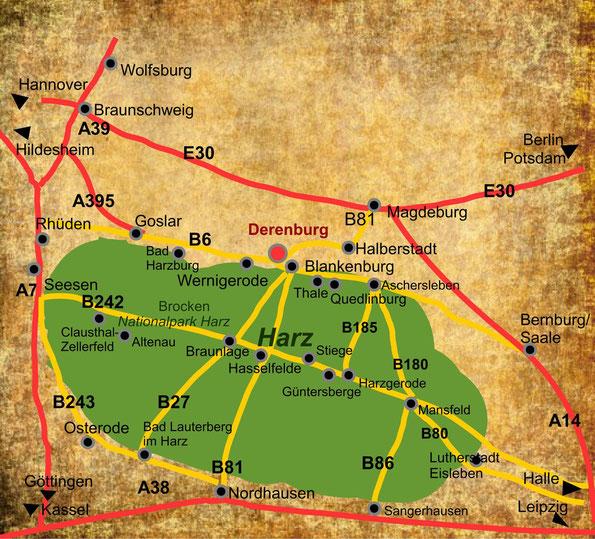 Anfahrtsweg zum Indianermuseum Derenburg am Harz