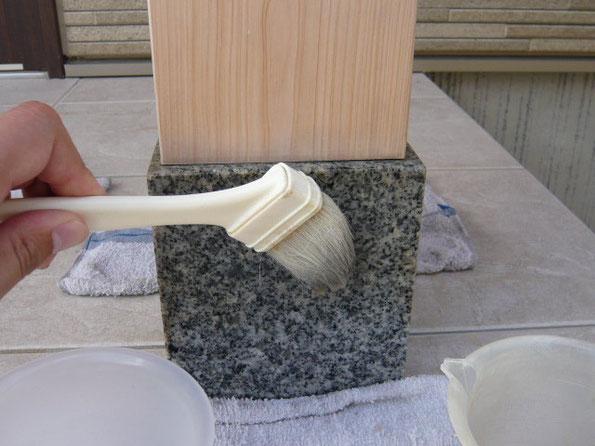 鏡面御影石のシミ抜きテスト