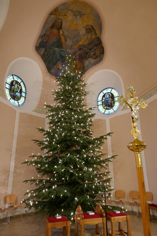 Der aufgestellte und mit Kerzen geschmückte Weihnachtsbaum 2017