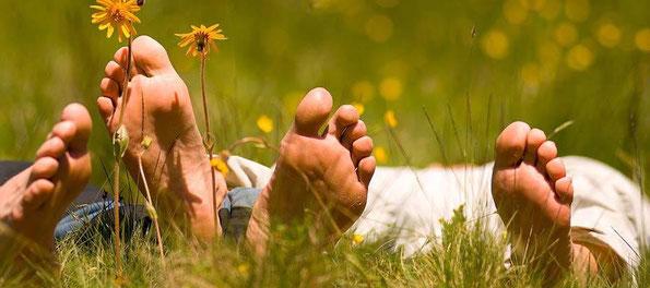 Zwei Menschen liegen entspannt in der Wiese. Man sieht die Fußsohlen, Grashalme und Blumen