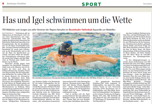 Has und Igel schwimmen um die Wette. Hamburger Abendblatt vom 21.09.2013