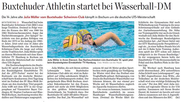 Buxtehuder Athletin startet bei Wasserball-DM
