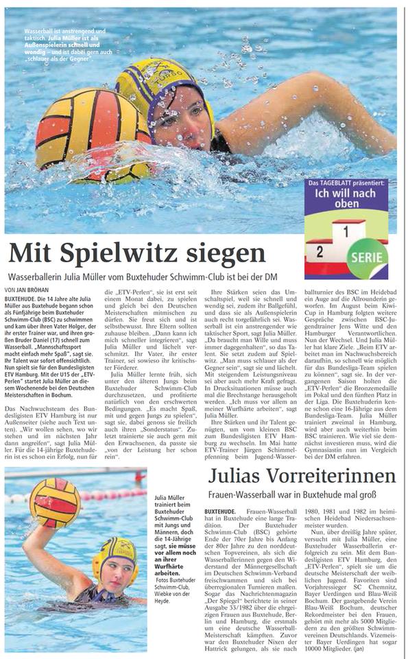 Wasserballerin Julia Müller vom Buxtehuder SchwimmClub ist bei der DM