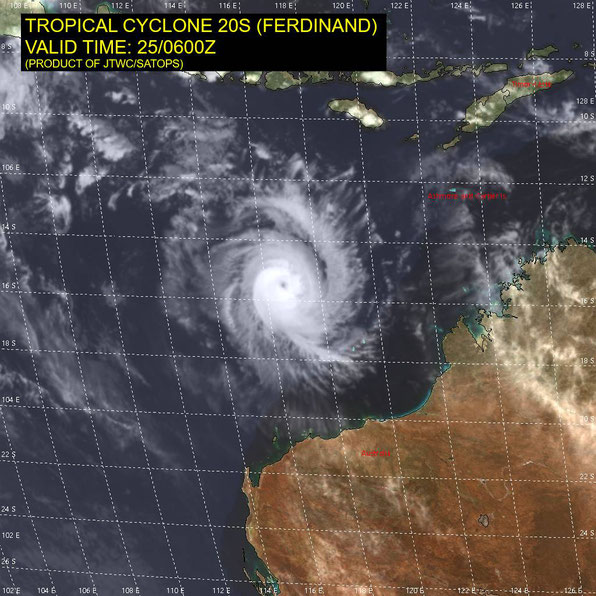 Satellite image of tropical cyclone Ferdinand of the north west coast of Australia, 25/02/2020. Image from JTWC