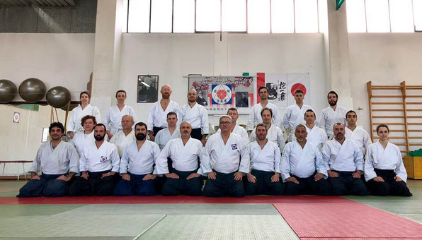 Modena, 14 gennaio 2018: i praticanti presenti al keiko della mattina.