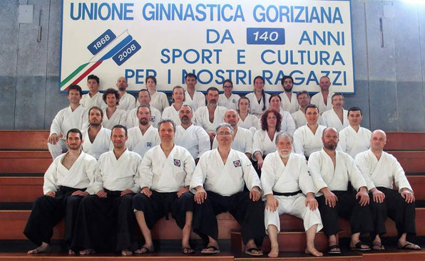 I partecipanti al keiko di sabato pomeriggio. In prima fila al centro, Alessandro Tittarelli Shihan; alla sua destra Alberto Boglio Shihan.